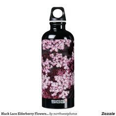Black Lace Elderberry Flowers Photo Aluminum Water Bottle