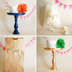 cake stands and calligraphy