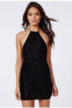 Masumi Velvet Paisley Dress Black