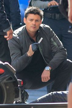 Karl Urban films a scene on the set of Almost Human in Vancouver on August 6. Congratulations! You are not a father!