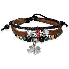 Bling Jewelry Bling Jewelry Braided Leather Zen Surf Bracelet Shamrock... ($16) ❤ liked on Polyvore featuring jewelry, bracelets, accessories, brown, beaded jewelry, charm jewelry, beading charms, graduation charms and leaf charms