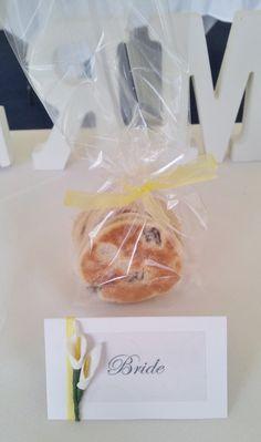 Stephanitely Good Cakes- Mini Welsh Cake Wedding Favors. Lemon themed. I also hand made the seating name cards.