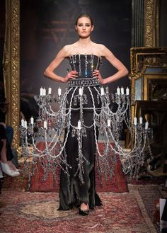 Chandelier dress features in Moschino's singed Autumn Winter 2016 womenswear collection
