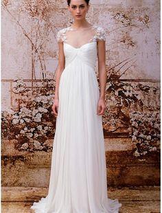 Chiffon Bateau Neckline Sheath Wedding Dress with Lace Appliques - Bridal Gowns - RainingBlossoms