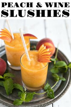 Frozen Peach Wine Slushies Frozen Peach Wine Slushies are made with just two simple ingredients – peaches and wine – for a blended, refreshing, and delicious summertime cocktail you'll make over and over again. Learn how to make wine slushies here! Easy Drink Recipes, Cocktail Recipes, Wine Recipes, Cocktail Drinks, Syrup Recipes, Vodka Recipes, Cocktails, Cocktail Desserts, Bourbon Drinks