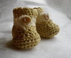 Golden White Baby Booties  NEW VELCRO  by Pepperbelle, $12.00  Visit our shop: http://www.etsy.com/shop/Pepperbelle