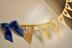 Royal Prince Baby Shower Bunting Banner.  Ships in 2-5 Business Days.  King Crown Garland. by ConfettiMommaParty on Etsy https://www.etsy.com/listing/246162053/royal-prince-baby-shower-bunting-banner