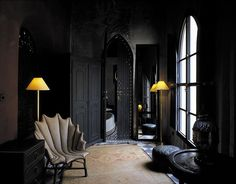 Exotic Design of Riads in old town of Marrakesh - Eccentric spooky Moroccan Style so strong in black color