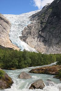 Briksdalsbreen is one of the most accessible and best known arms of the Jostedalsbreen glacier. Briksdalsbreen lies on the north side of the Jostedalsbreen, in Briksdalen (the Briks valley), up the Oldedalen in Stryn municipality in the county of Sogn og Fjordane, Norway. It lies in the Jostedalsbreen National Park. Briksdalsbreen terminates in a small glacial lake, Briksdalsbrevatnet, which lies 346 meters above sea level.