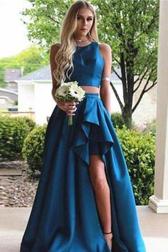 Simple Vintage Two Pieces A-line Blue Sleeveless Slit Long Scoop Woman Evening Dresses G405