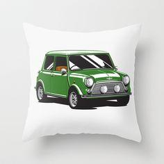 British Racing Green Mini Cooper -  Throw Pillow - $20.00