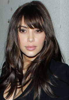 Kim K fesses up about her clip in fringe. We love it! Get the look: http://www.hothair.co.uk/Side-Swept-Fringe.html
