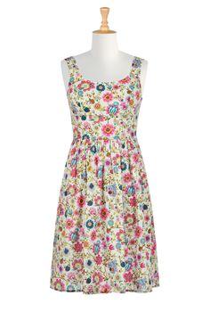 Vibrant Floral Print Dresses, Cotton Print Dresses Women's stylish dress - Evening Dress, Cocktail Dress, Prom Dress, and Party Dress from eShakti - | eShakti