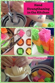3 hand strengthening activities in the kitchen. Repinned by SOS Inc. Resources pinterest.com/sostherapy/.