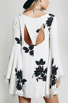 Leaf Print Bell Sleeve Dress with Lace Detail from Young & Free Clothing. Saved to Epic Wishlist.