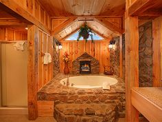 Little fireplace next to the tub, how convenient :)