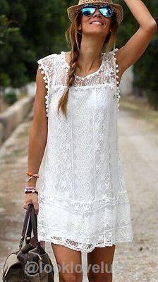 Hollowed Out Short White Lace Summer Beach Dress -  - Casual Dresses  Look Love Lust https://www.looklovelust.com/products/hollowed-out-short-white-lace-summer-beach-dress