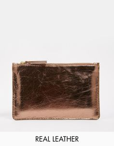 Warehouse Flat Leather Pouch Clutch Bag
