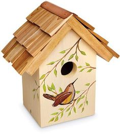 hand painted birdhouse roofs | Handpainted Charleston Gardens Wren Birdhouse | Charleston Gardens ...