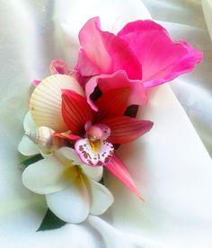 BRIDAL HEADPIECE Pink and white Tropical Seashells by MalamaPua, $44.99