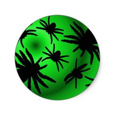Black Spiders on Green Round Sticker