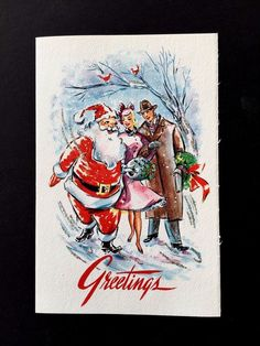 Vintage Glittered Sample Xmas Greeting Card Santa Flirting with a Pretty Lady