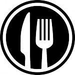 Tenedor y cuchillo cubiertos símbolo interfaz círculo para el restaurante