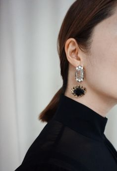 SaraK Accessories bling black earrings