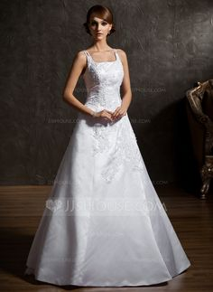 A-Line/Princess Square Neckline Floor-Length Organza Satin Wedding Dress With Beading Appliques Lace Flower(s) (002012906) - JJsHouse