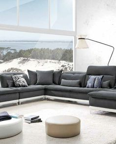 The Lusso Horizon Modern Grey & Leather Sectional Sofa brings in a commodious gentle feel featuring adjustable headrests and cushioned backs. Perfect for large and open spaces! Grey Leather Sectional, Best Leather Sofa, Black Leather Sofas, Leather Sectional Sofas, Modern Sectional, White Leather, Couches, Gray Sectional, Italian Leather