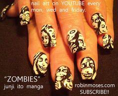 Nail-art by Robin Moses ZOMBIES  http://www.youtube.com/watch?v=nnn2kLWXqMk