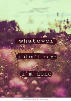 Whatever. I don't care. I'm done. Picture Quotes.
