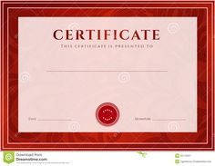 Red Certificate, Diploma Template. Award Pattern Stock inside Graduation Certificate Template Word Graduation Certificate Template, Christmas Gift Certificate Template, Certificate Templates, Best Templates, Templates Printable Free, Letter Templates, Preschool Graduation, Graduation Gifts, Baby Dedication Certificate