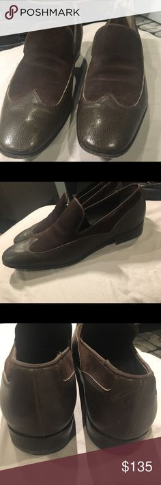 Salvatore Ferragamo Suede & Leather Men's Loafers - Salvatore Ferragamo Men's Brown Suede and Dark Olive Leather Loafers - Size 9.5 M - Slight scratching on back of R shoe (pictured) Salvatore Ferragamo Shoes Loafers & Slip-Ons