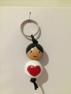 wooden doll - bag charm or key chain - large red heart