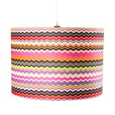 Find it at the Foundary - Zig Shaded Lamp - Pink $111.  Also available in greens.  Patterned and multicolored hanging lamp  Fabric drum shade  Light bulb not included  Dimensions: 20 diam. x 14H inches