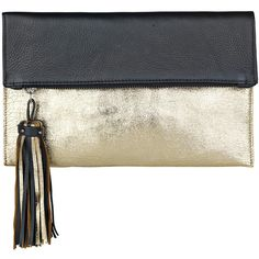 Becksondergaard Iwata Tassel Clutch - Gold Metallic ($92) ❤ liked on Polyvore featuring bags, handbags, clutches, gold metallic, metallic clutches, metallic leather handbags, metallic purse, gold metallic handbags and genuine leather handbags