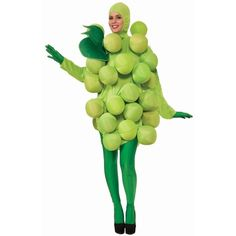 Green Grapes Adult Costume ($100) ❤ liked on Polyvore featuring costumes, halloween costumes, multicolor, white halloween costumes, white costume, green halloween costumes, adult halloween costumes and green costume