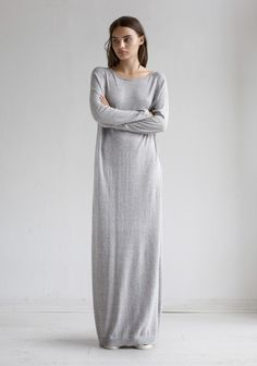 4cc18d01766d Long grey dress can be styled so many ways and makes an easy transition  piece…