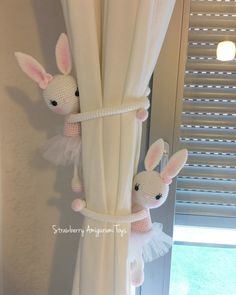 This is an amigurumi bunny curtain tie back. Its about 30 cm tall. It is crocheted with acrylic yarn and filled with fibre. Its arms are about 24 cm. It is a good object for girls nursery. This price is ONLY for one bunny. Curtain Tie Back Hooks, Curtain Holder, Curtain Tie Backs, Girl Nursery, Girl Room, Girls Bedroom, Nursery Curtains Girl, Baby Room Decor, Nursery Decor
