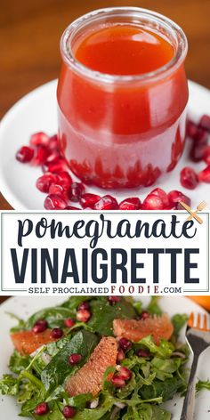 This Pomegranate Vinaigrette is a fresh and healthy way to dress your dark leafy green salads. #salad #dressing #vinaigrette #pomegranate #oil #vinegar #recipe #easy