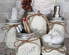Painted mason jar bathroom set vanity holders for toothbrushes, soap, Q-tips, makeup sponges, makeup brushes