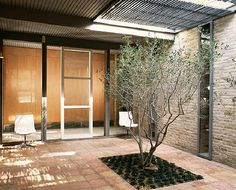 Nice little atrium from a 1958 home in Dallas, TX. Plants, brick, tall skinny windows, wood slats...lots to love here.