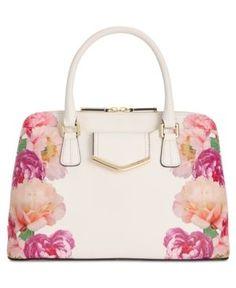 Calvin Klein Saffiano Satchel - Floral White