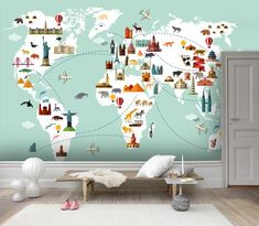 (1) 3D Color Cartoon Navigation Map Wall Mural Wallpaper 37 – Jessartdecoration Kids World Map, World Map Wallpaper, Mountain Wallpaper, Famous Buildings, Types Of Painting, Removable Wall, Peel And Stick Wallpaper, Textured Walls, Wall Prints