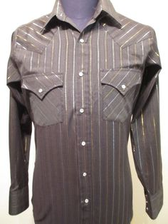 Ely Cattleman Pearl Snap Shirt Long Sleeve Men Size S Small South Western Black #ElyCattleman #Western