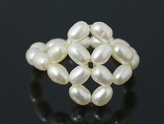 Pearl Ring, with Elastic Cord, adjusted, Seashell, 16mm in Diameter