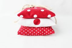 Red and White Lavender Sachets, Nautical Polka Dot, Natural Scent Drawer Sachets