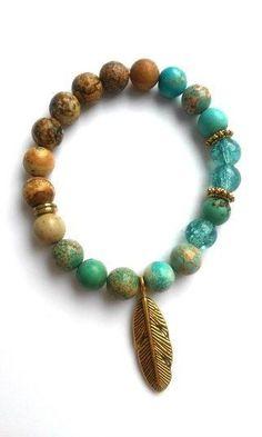 Native Natural Jasper Bracelet - Gold Feather Charm Gemstone Glass Beaded Jewelry