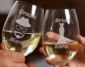 Personalized Wine Glasses - Custom Engraved Wine Glasses - Set of 2 - Bridesmaids Gift - Wedding Toasting Glasses